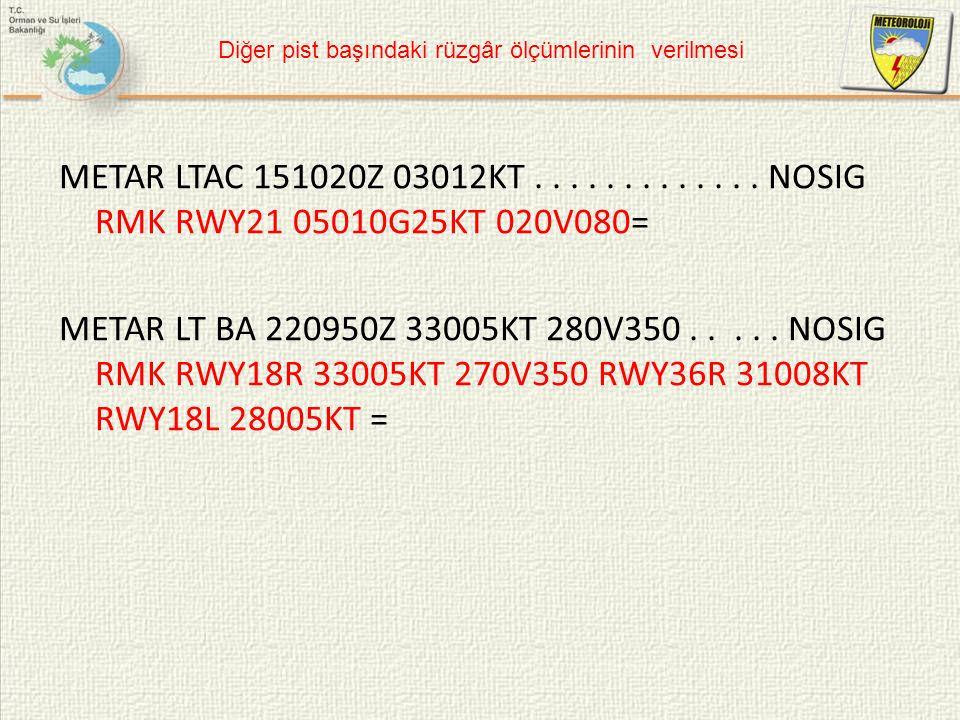 METAR LTAC 151020Z 03012KT............. NOSIG RMK RWY21 05010G25KT 020V080= METAR LT BA 220950Z 33005KT 280V350..... NOSIG RMK RWY18R 33005KT 270V350