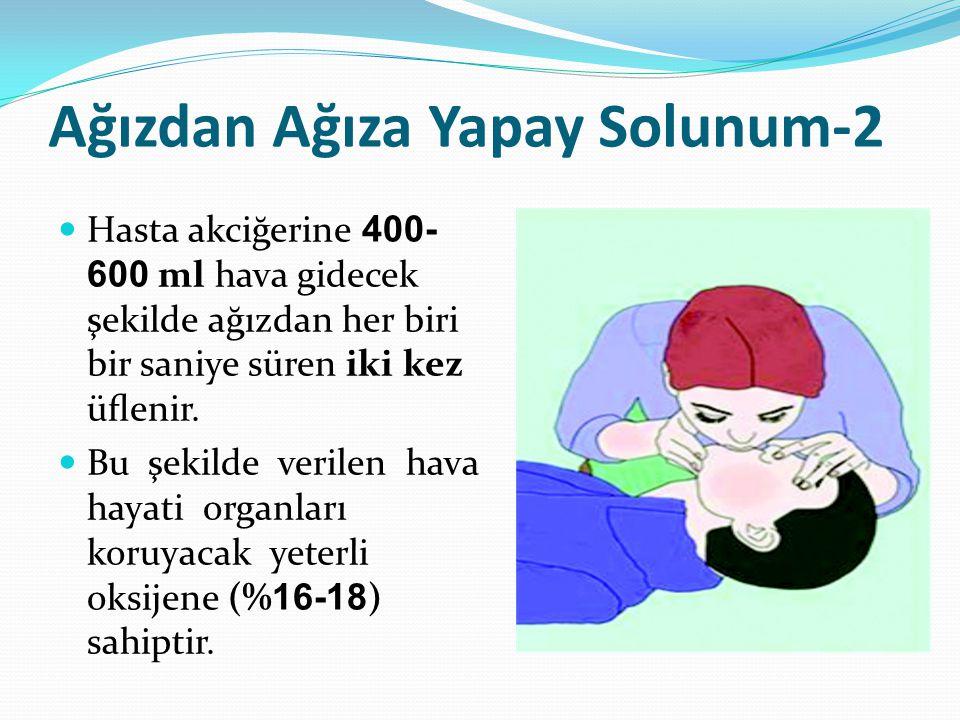 Ağızdan Ağıza Yapay Solunum-2 Hasta akciğerine 400- 600 ml hava gidecek şekilde ağızdan her biri bir saniye süren iki kez üflenir. Bu şekilde verilen h