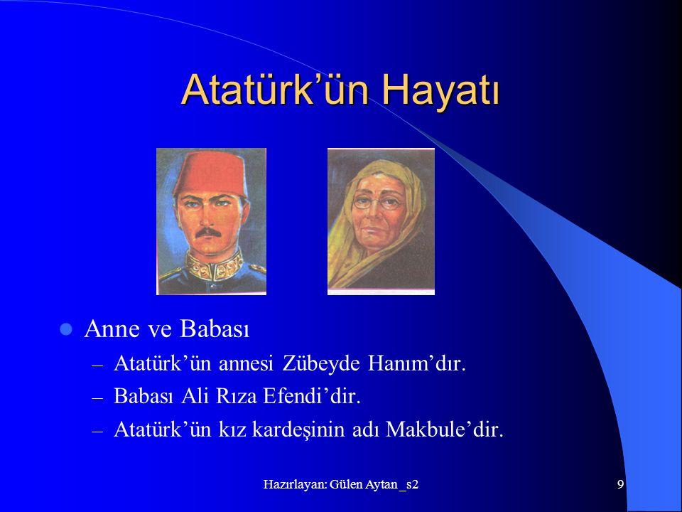 Hazırlayan: Gülen Aytan _s29 Atatürk'ün Hayatı Anne ve Babası – Atatürk'ün annesi Zübeyde Hanım'dır. – Babası Ali Rıza Efendi'dir. – Atatürk'ün kız ka