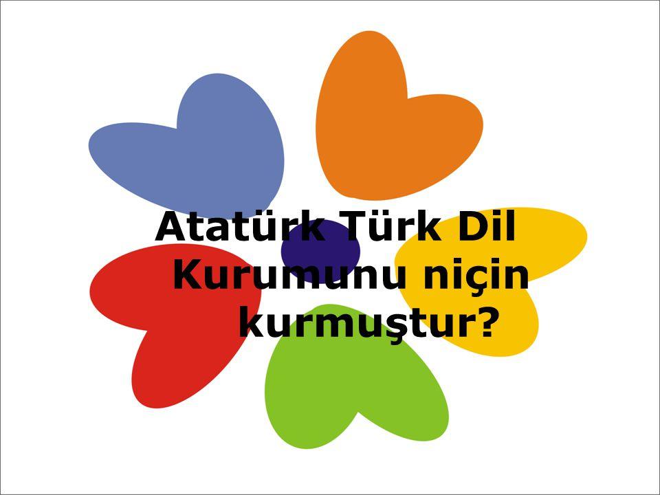 Atatürk Türk Dil Kurumunu niçin kurmuştur?