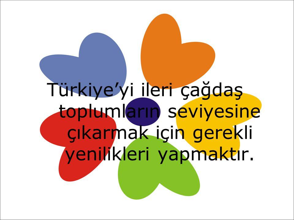 Türkiye'yi ileri çağdaş toplumların seviyesine çıkarmak için gerekli yenilikleri yapmaktır.