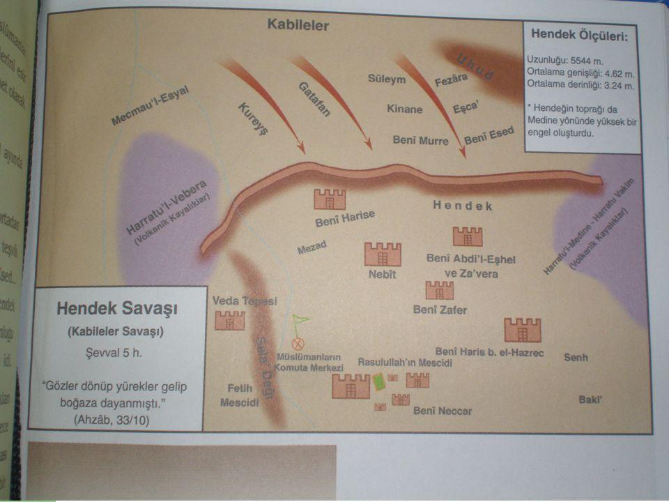 Hendek Savaşı (H5 / 627) Hendek, içine düşenin çıkamayacağı derinlikte ve karşıdan karşıya bir süvarinin atlayamayacağı genişlikte planlandı.
