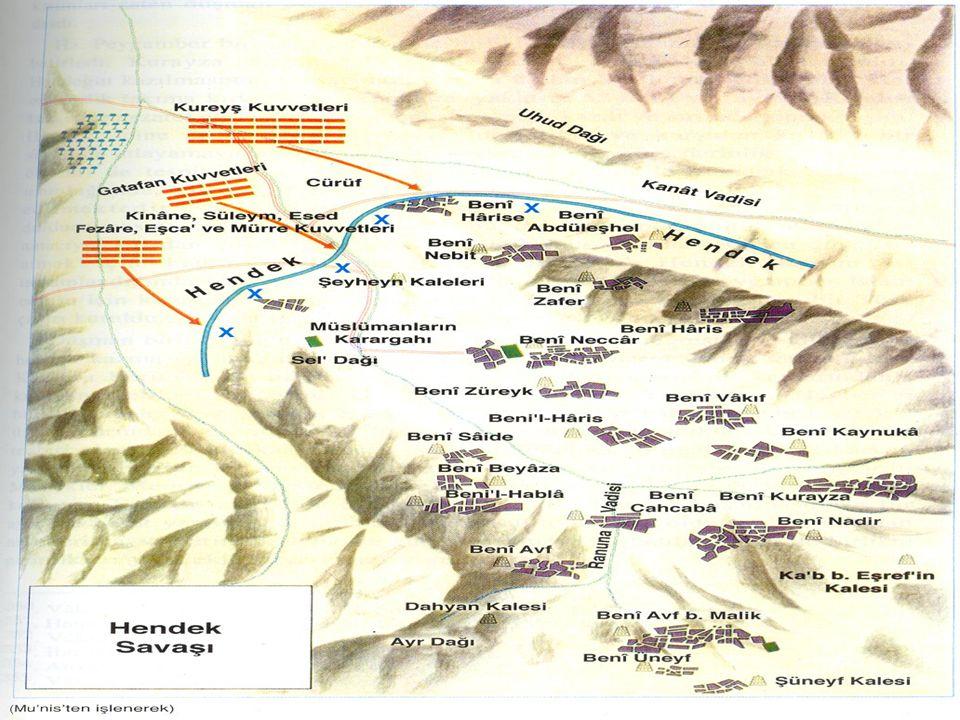 Hz Muhammed'in İslam'a ve Müslümanlara Yönelik Saldırılarla Mücadelesi Hendek Savaşı (H5 / 627) Mü'minler tarafından ok atıldığından hendeğe çok fazla da yaklaşamıyorlardı.