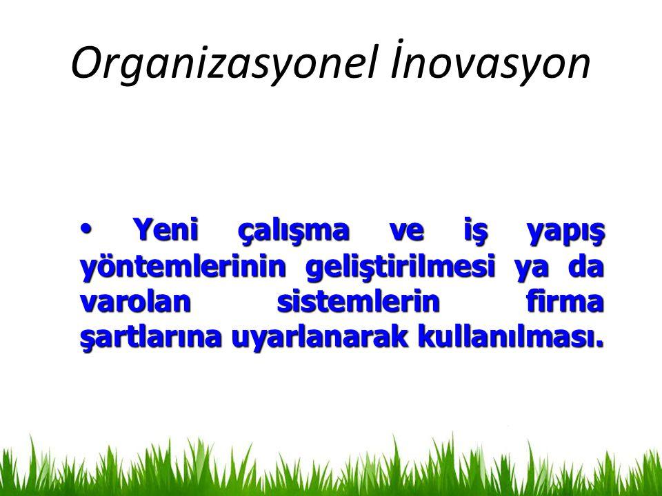 Organizasyonel İnovasyon Yeni çalışma ve iş yapış yöntemlerinin geliştirilmesi ya da varolan sistemlerin firma şartlarına uyarlanarak kullanılması. Ye