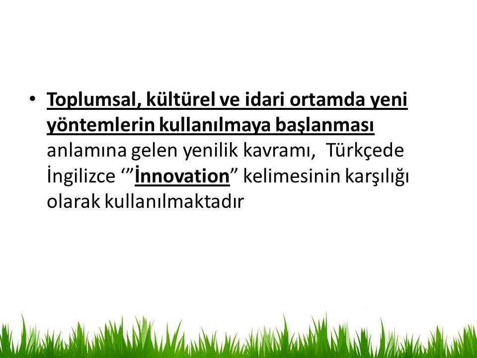 """Toplumsal, kültürel ve idari ortamda yeni yöntemlerin kullanılmaya başlanması anlamına gelen yenilik kavramı, Türkçede İngilizce '""""İnnovation"""" kelimes"""