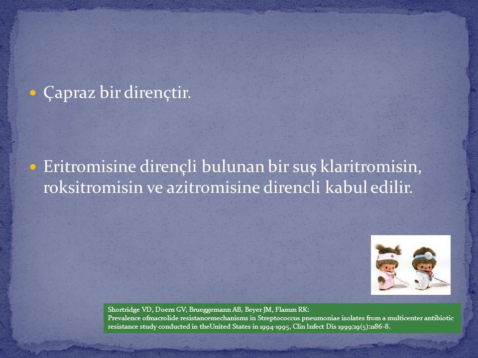 Çapraz bir dirençtir. Eritromisine dirençli bulunan bir suş klaritromisin, roksitromisin ve azitromisine direncli kabul edilir. Shortridge VD, Doern G