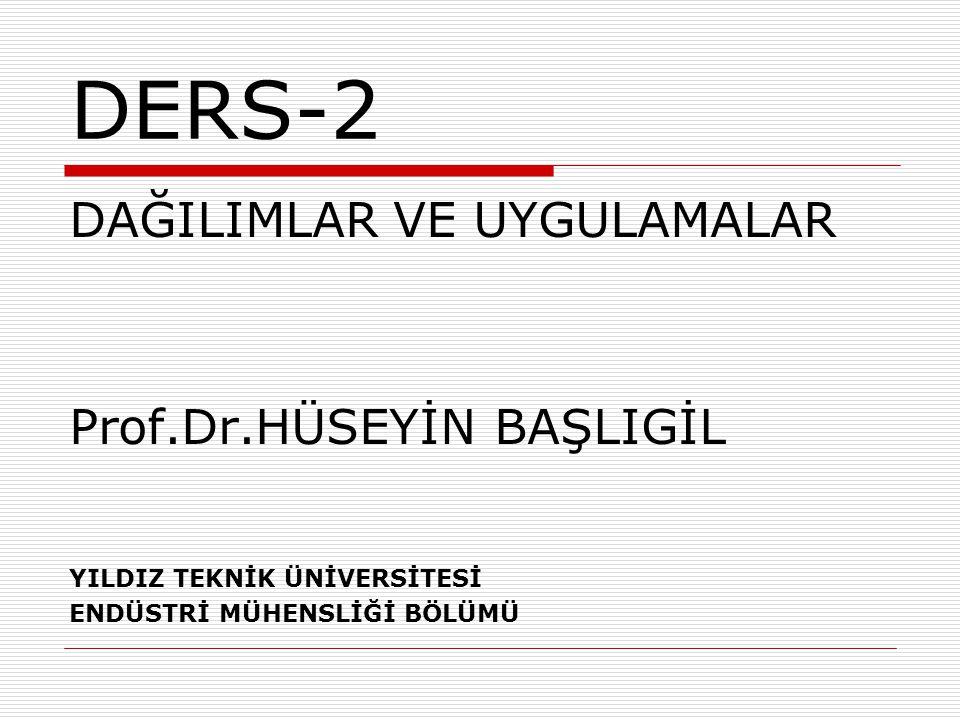 DERS-2 DAĞILIMLAR VE UYGULAMALAR Prof.Dr.HÜSEYİN BAŞLIGİL YILDIZ TEKNİK ÜNİVERSİTESİ ENDÜSTRİ MÜHENSLİĞİ BÖLÜMÜ