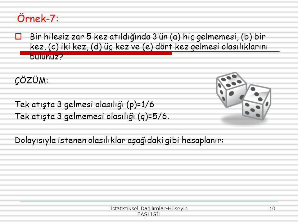 Örnek-7:  Bir hilesiz zar 5 kez atıldığında 3'ün (a) hiç gelmemesi, (b) bir kez, (c) iki kez, (d) üç kez ve (e) dört kez gelmesi olasılıklarını bulun