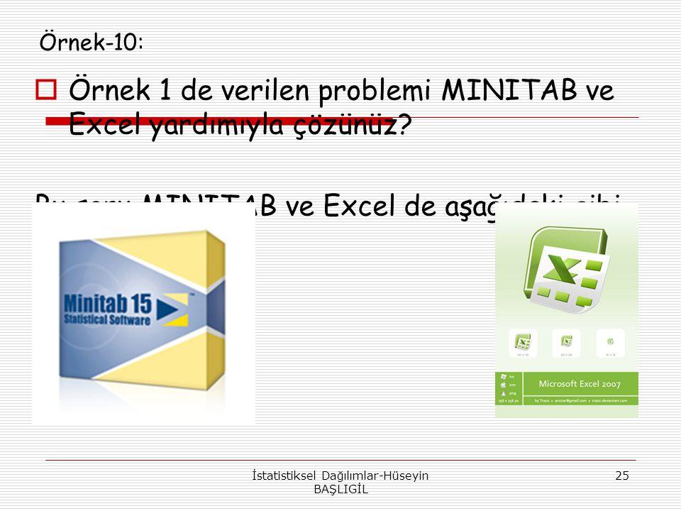 Örnek-10:  Örnek 1 de verilen problemi MINITAB ve Excel yardımıyla çözünüz? Bu soru MINITAB ve Excel de aşağıdaki gibi çözülür: İstatistiksel Dağılım