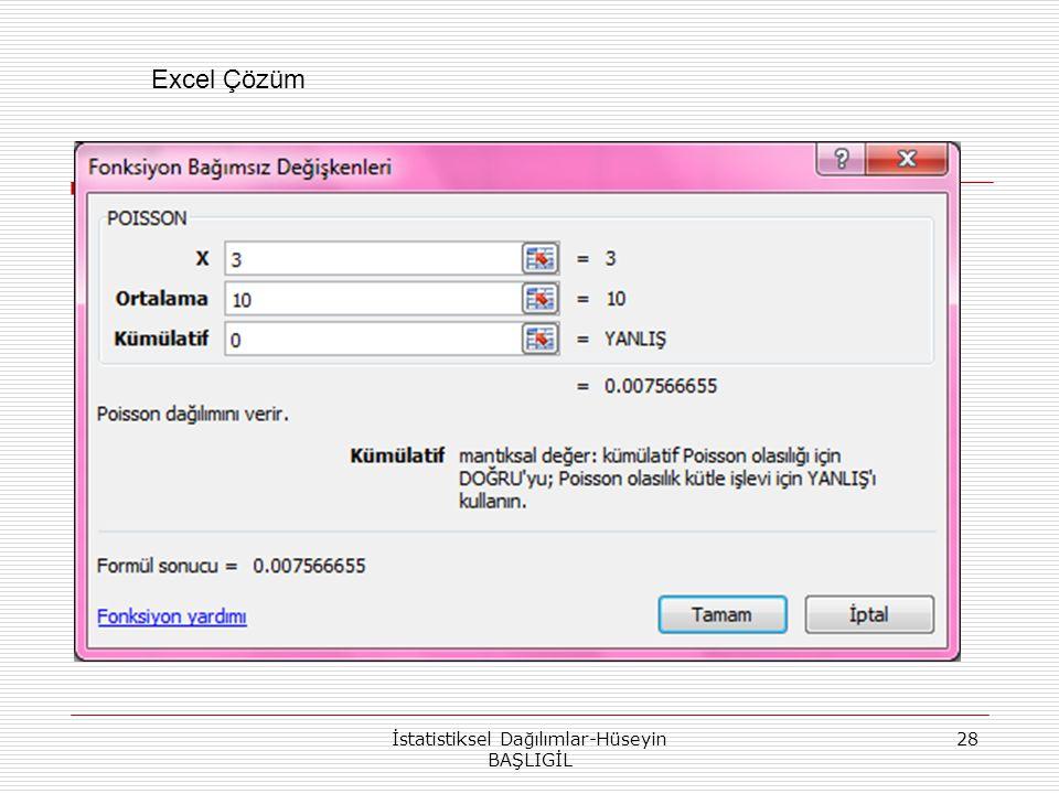 İstatistiksel Dağılımlar-Hüseyin BAŞLIGİL 28 Excel Çözüm