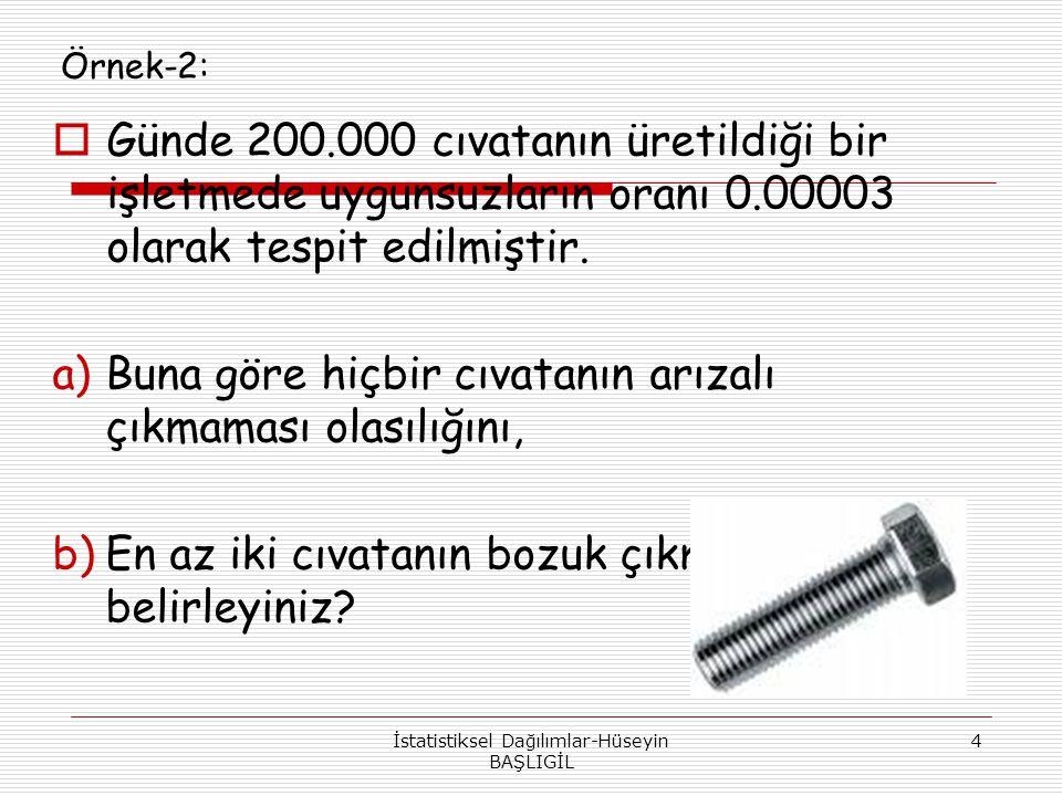 Örnek-2:  Günde 200.000 cıvatanın üretildiği bir işletmede uygunsuzların oranı 0.00003 olarak tespit edilmiştir. a)Buna göre hiçbir cıvatanın arızalı