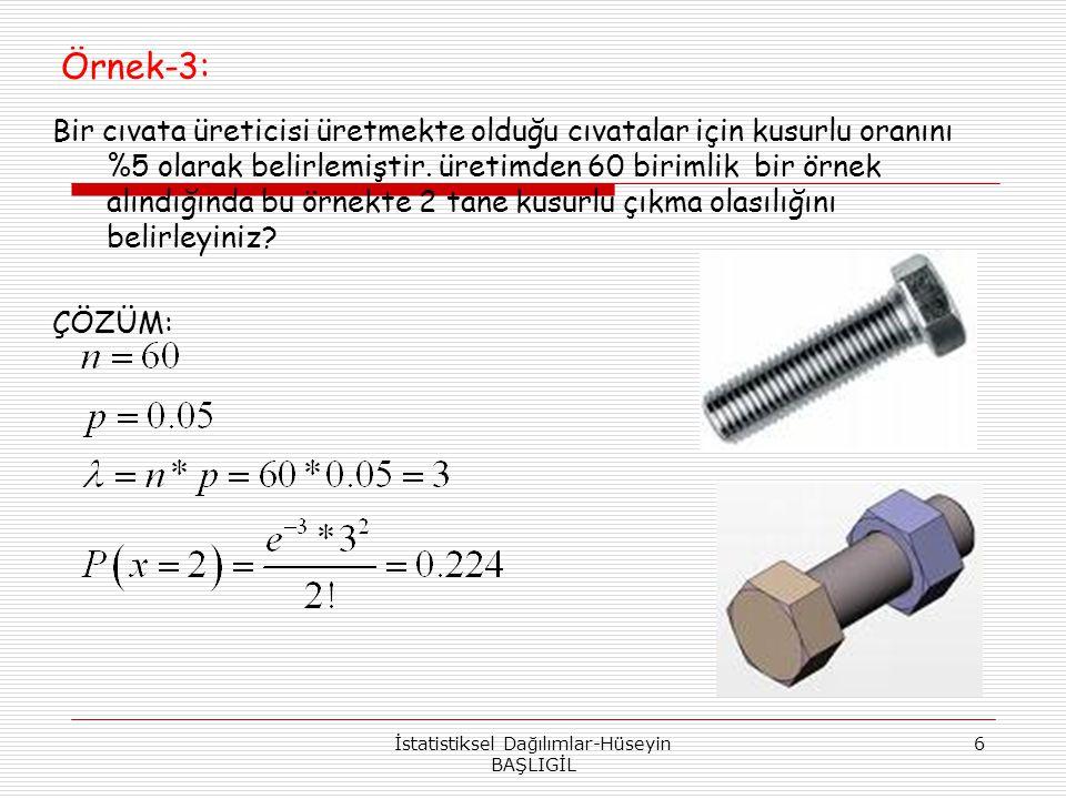 Örnek-3: Bir cıvata üreticisi üretmekte olduğu cıvatalar için kusurlu oranını %5 olarak belirlemiştir. üretimden 60 birimlik bir örnek alındığında bu