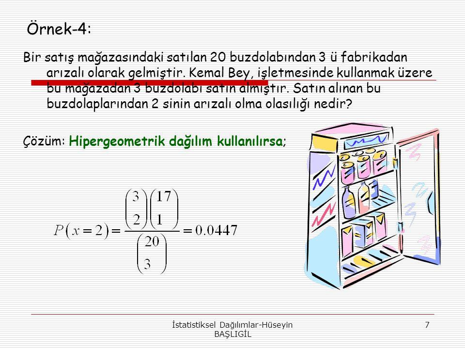 İstatistiksel Dağılımlar-Hüseyin BAŞLIGİL 18 d) x P( X = x ) 5 0.107248 Kümülatif değil