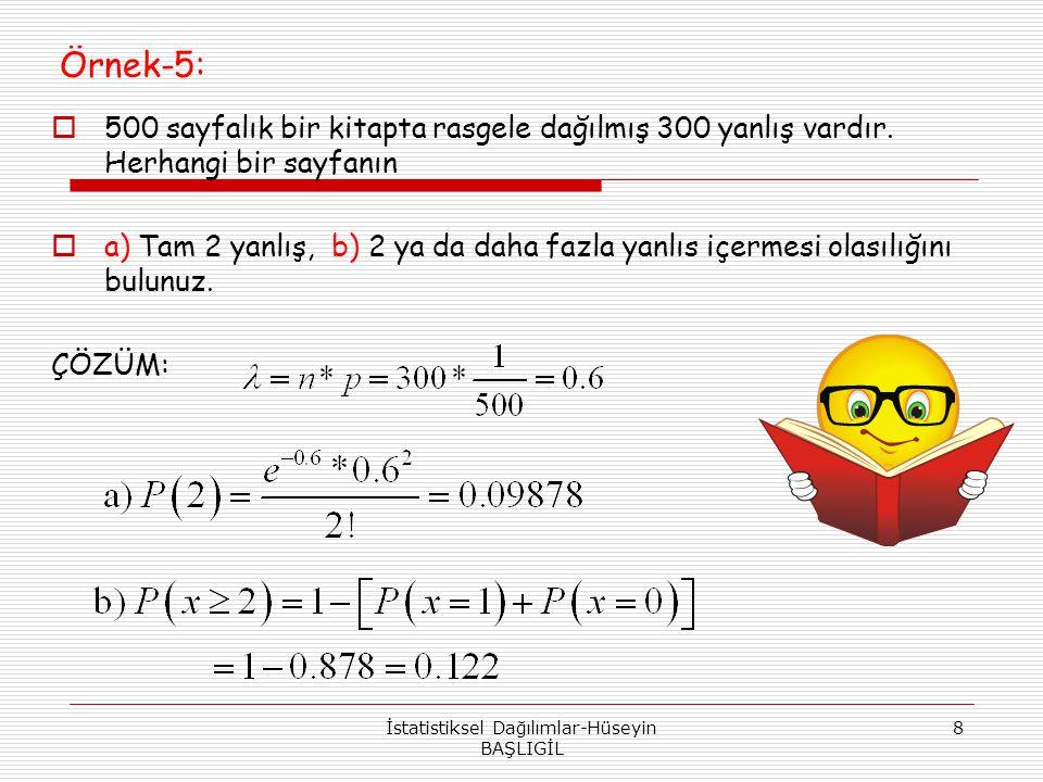 Örnek-5:  500 sayfalık bir kitapta rasgele dağılmış 300 yanlış vardır. Herhangi bir sayfanın  a) Tam 2 yanlış, b) 2 ya da daha fazla yanlıs içermesi