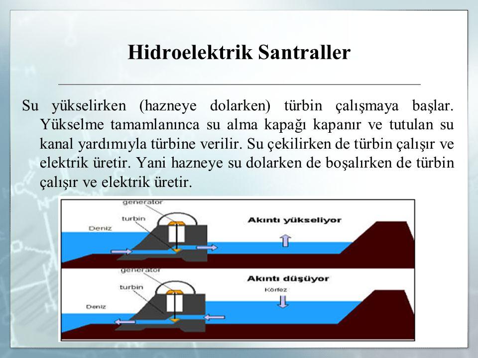 Hidroelektrik Santraller Su yükselirken (hazneye dolarken) türbin çalışmaya başlar. Yükselme tamamlanınca su alma kapağı kapanır ve tutulan su kanal y