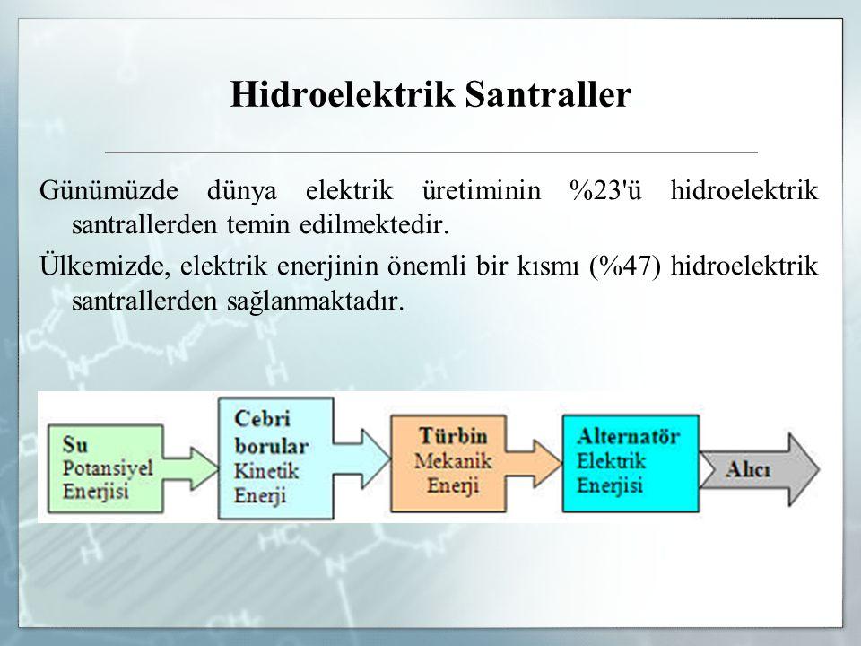 Hidroelektrik Santraller Günümüzde dünya elektrik üretiminin %23'ü hidroelektrik santrallerden temin edilmektedir. Ülkemizde, elektrik enerjinin öneml
