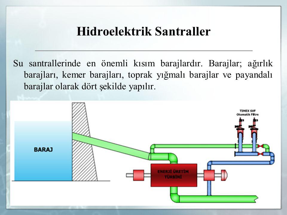 Hidroelektrik Santraller Su santrallerinde en önemli kısım barajlardır. Barajlar; ağırlık barajları, kemer barajları, toprak yığmalı barajlar ve payan