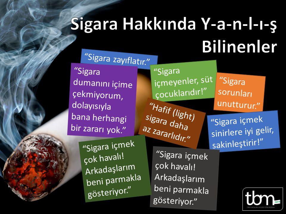 Sigara zayıflatır. Sayfa 34 Sayfa 18-19 Sigara içmeyenler, süt çocuklarıdır! Sigara sorunları unutturur. Sigara içmek sinirlere iyi gelir, sakinleştirir! Sigara içmek çok havalı.