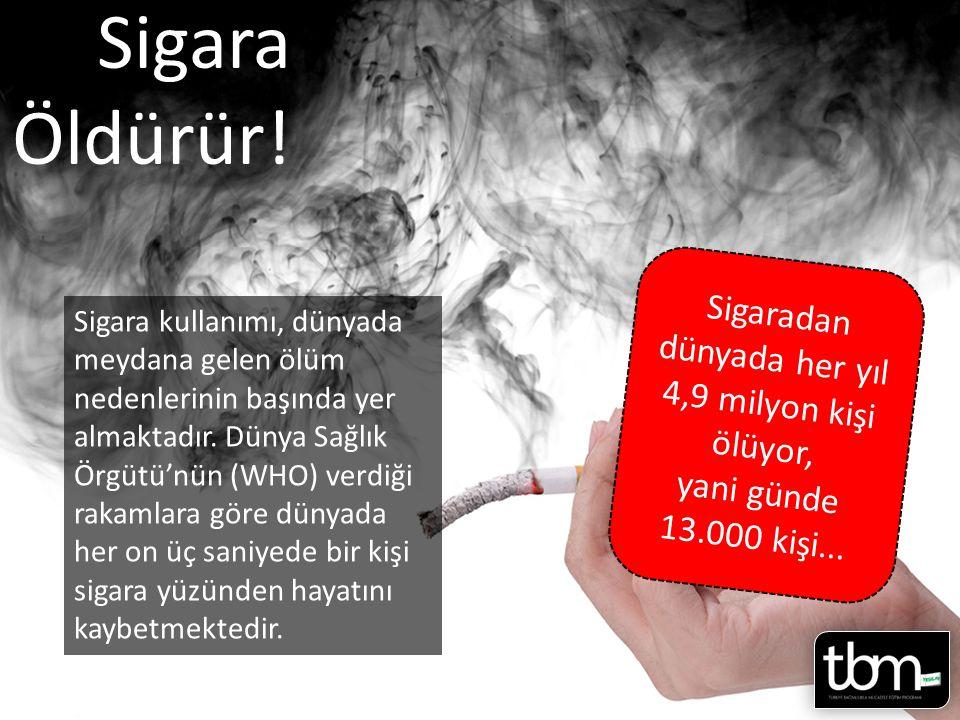 Sigara Öldürür.Sigara kullanımı, dünyada meydana gelen ölüm nedenlerinin başında yer almaktadır.
