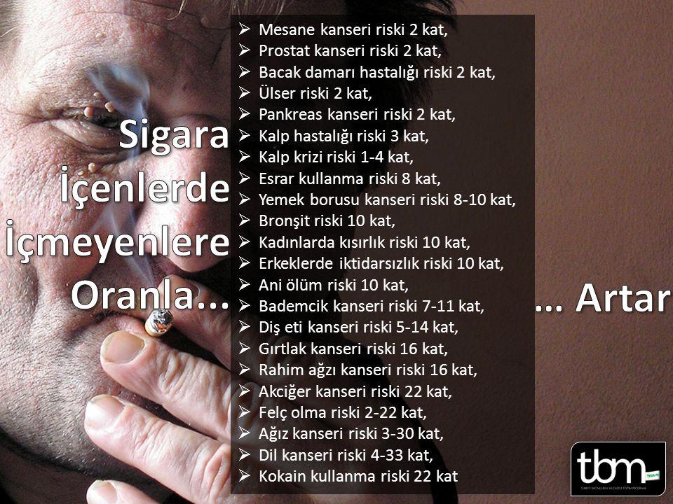  Mesane kanseri riski 2 kat,  Prostat kanseri riski 2 kat,  Bacak damarı hastalığı riski 2 kat,  Ülser riski 2 kat,  Pankreas kanseri riski 2 kat,  Kalp hastalığı riski 3 kat,  Kalp krizi riski 1-4 kat,  Esrar kullanma riski 8 kat,  Yemek borusu kanseri riski 8-10 kat,  Bronşit riski 10 kat,  Kadınlarda kısırlık riski 10 kat,  Erkeklerde iktidarsızlık riski 10 kat,  Ani ölüm riski 10 kat,  Bademcik kanseri riski 7-11 kat,  Diş eti kanseri riski 5-14 kat,  Gırtlak kanseri riski 16 kat,  Rahim ağzı kanseri riski 16 kat,  Akciğer kanseri riski 22 kat,  Felç olma riski 2-22 kat,  Ağız kanseri riski 3-30 kat,  Dil kanseri riski 4-33 kat,  Kokain kullanma riski 22 kat Sayfa 34 Sayfa 10-11