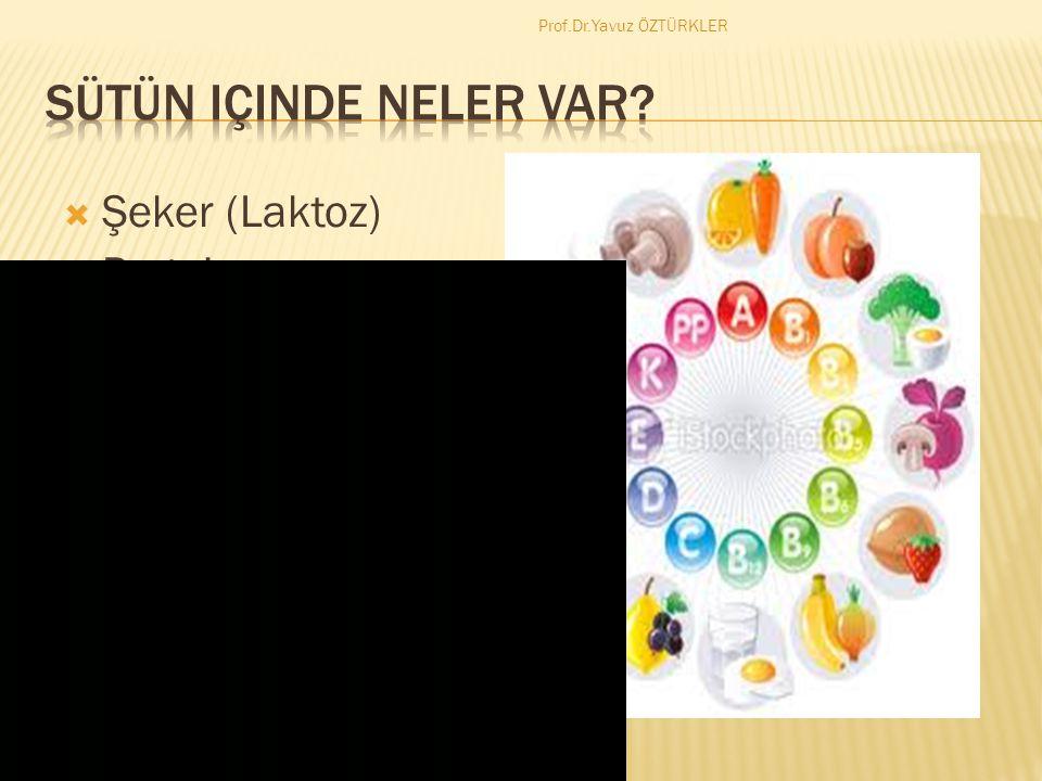 Şeker (Laktoz)  Protein  Yağ (A,D,E,K vitaminleri taşır)  Vitaminler (B2,B12,A,C)  Mineraller (Kalsiyum,Potasyum) Prof.Dr.Yavuz ÖZTÜRKLER