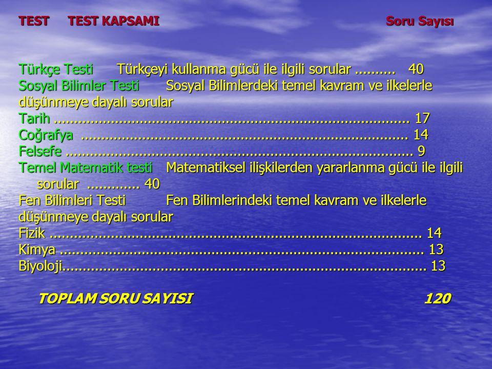 TESTTEST KAPSAMI Soru Sayısı Türkçe TestiTürkçeyi kullanma gücü ile ilgili sorular..........