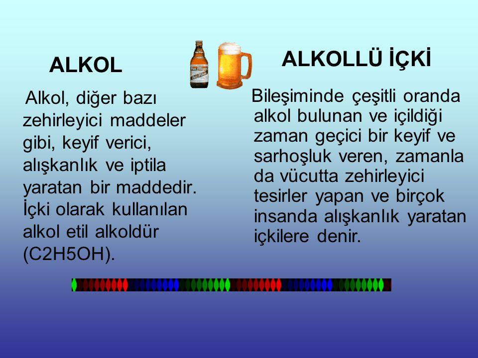 BAŞLICA ALKOLLÜ İÇKİLER Bira, Cin, Konyak, Rakı, Şarap, Şampanya, Viski, Rom, Kokteyl....