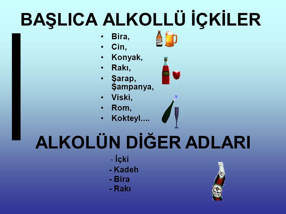 BAŞLICA ALKOLLÜ İÇKİLER Bira, Cin, Konyak, Rakı, Şarap, Şampanya, Viski, Rom, Kokteyl.... ALKOLÜN DİĞER ADLARI - İçki - Kadeh - Bira - Rakı
