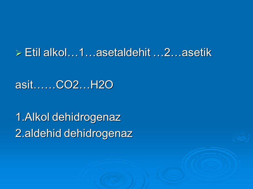  Etil alkol…1…asetaldehit …2…asetik asit……CO2…H2O 1.Alkol dehidrogenaz 2.aldehid dehidrogenaz