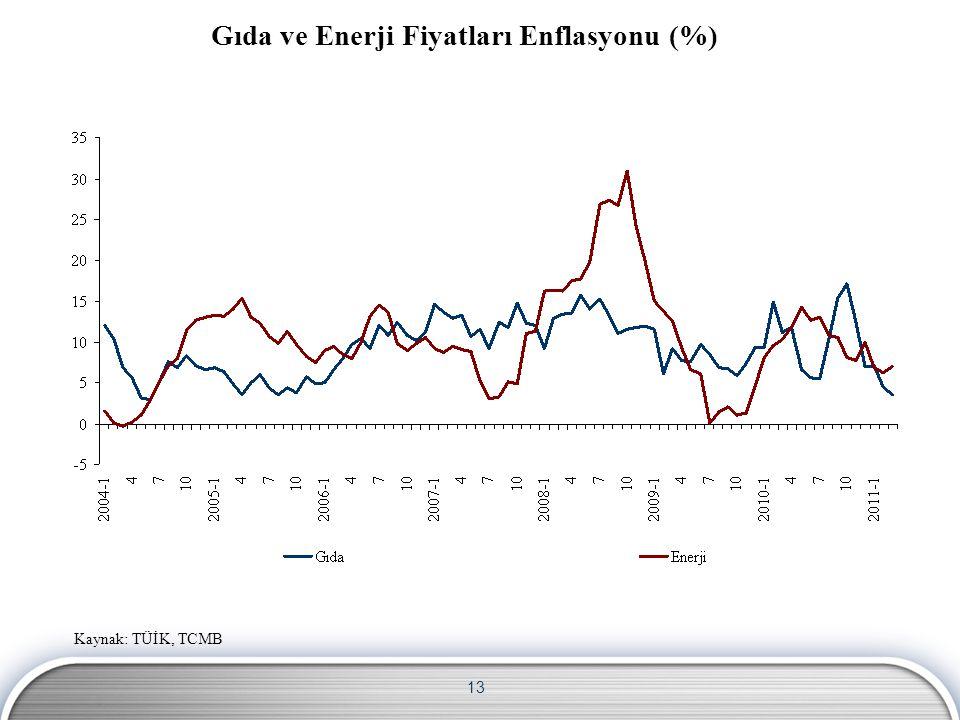 13 Gıda ve Enerji Fiyatları Enflasyonu (%) Kaynak: TÜİK, TCMB