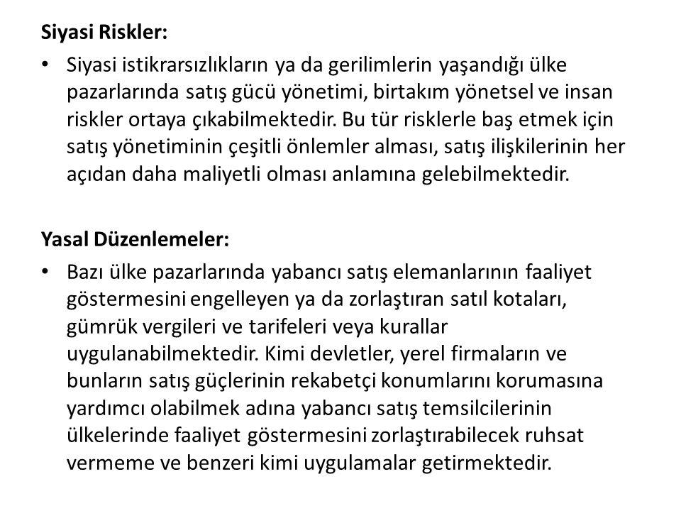 Siyasi Riskler: Siyasi istikrarsızlıkların ya da gerilimlerin yaşandığı ülke pazarlarında satış gücü yönetimi, birtakım yönetsel ve insan riskler ortaya çıkabilmektedir.