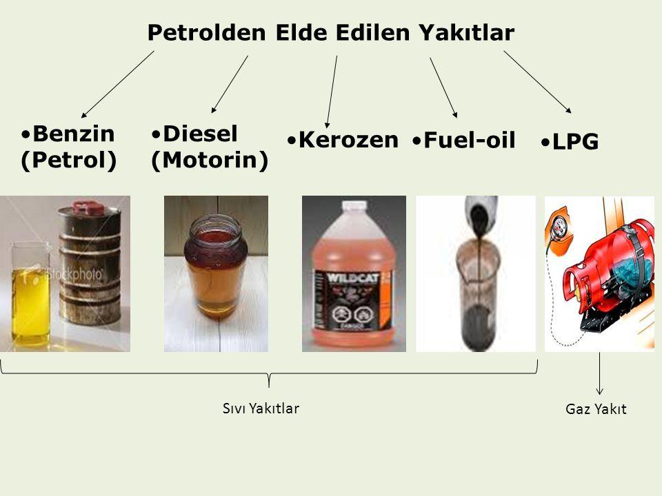 Petrolden Elde Edilen Yakıtlar Benzin (Petrol) Diesel (Motorin) Kerozen LPG Fuel-oil Sıvı Yakıtlar Gaz Yakıt