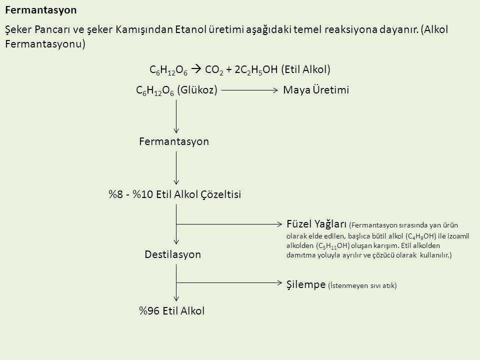 Fermantasyon Şeker Pancarı ve şeker Kamışından Etanol üretimi aşağıdaki temel reaksiyona dayanır. (Alkol Fermantasyonu) C 6 H 12 O 6  CO 2 + 2C 2 H 5