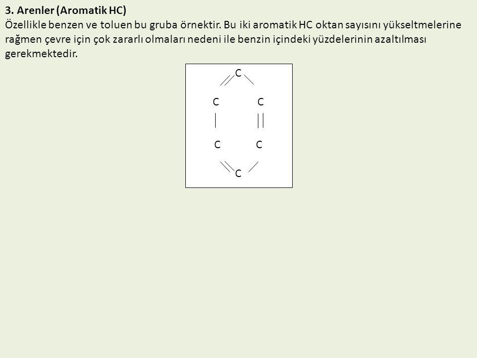 3. Arenler (Aromatik HC) Özellikle benzen ve toluen bu gruba örnektir. Bu iki aromatik HC oktan sayısını yükseltmelerine rağmen çevre için çok zararlı