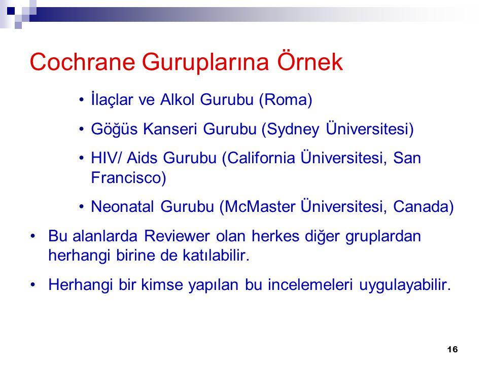 16 Cochrane Guruplarına Örnek İlaçlar ve Alkol Gurubu (Roma) Göğüs Kanseri Gurubu (Sydney Üniversitesi) HIV/ Aids Gurubu (California Üniversitesi, San