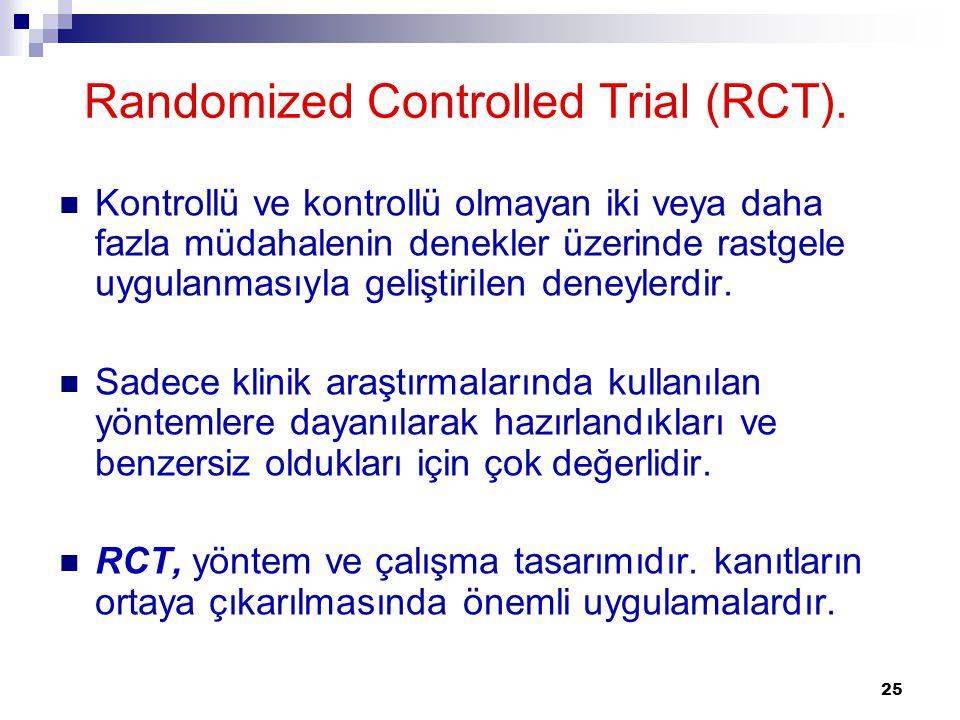 25 Randomized Controlled Trial (RCT). Kontrollü ve kontrollü olmayan iki veya daha fazla müdahalenin denekler üzerinde rastgele uygulanmasıyla gelişti