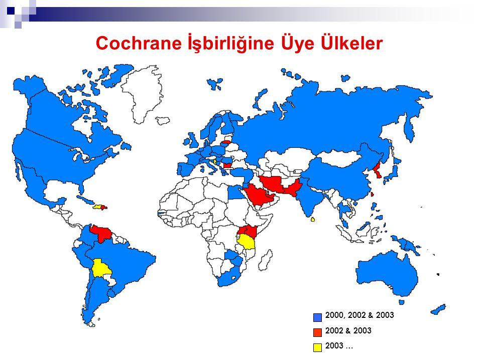 7 2000, 2002 & 2003 2002 & 2003 2003 … Cochrane İşbirliğine Üye Ülkeler