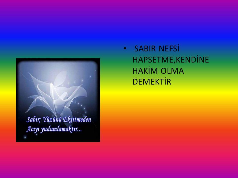 SABIR NEFSİ HAPSETME,KENDİNE HAKİM OLMA DEMEKTİR