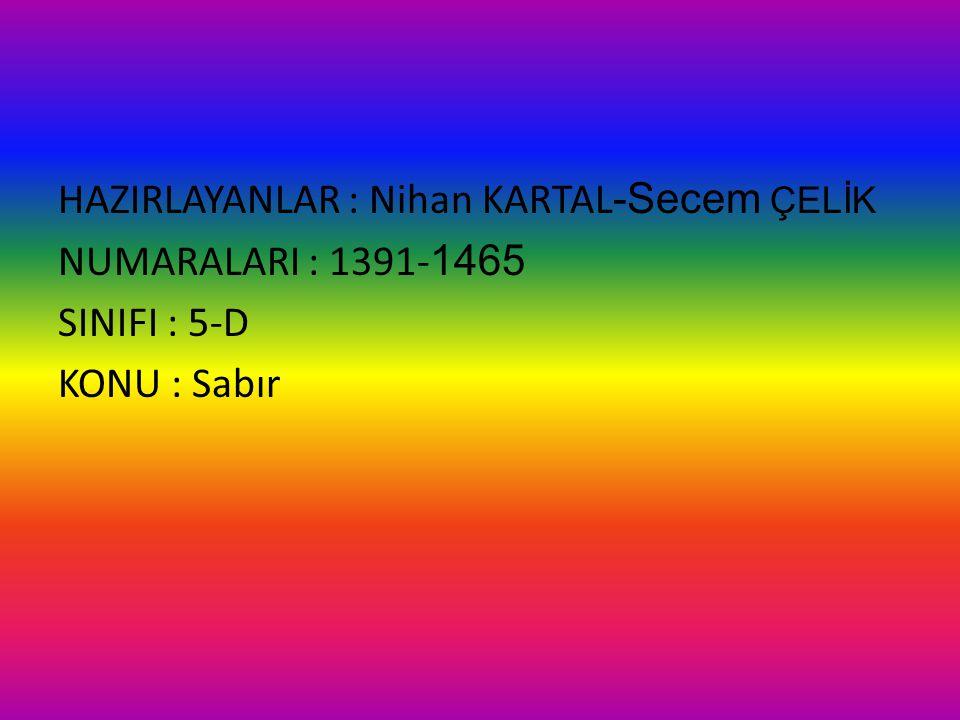 HAZIRLAYANLAR : Nihan KARTAL -Secem ÇELİK NUMARALARI : 1391- 1465 SINIFI : 5-D KONU : Sabır