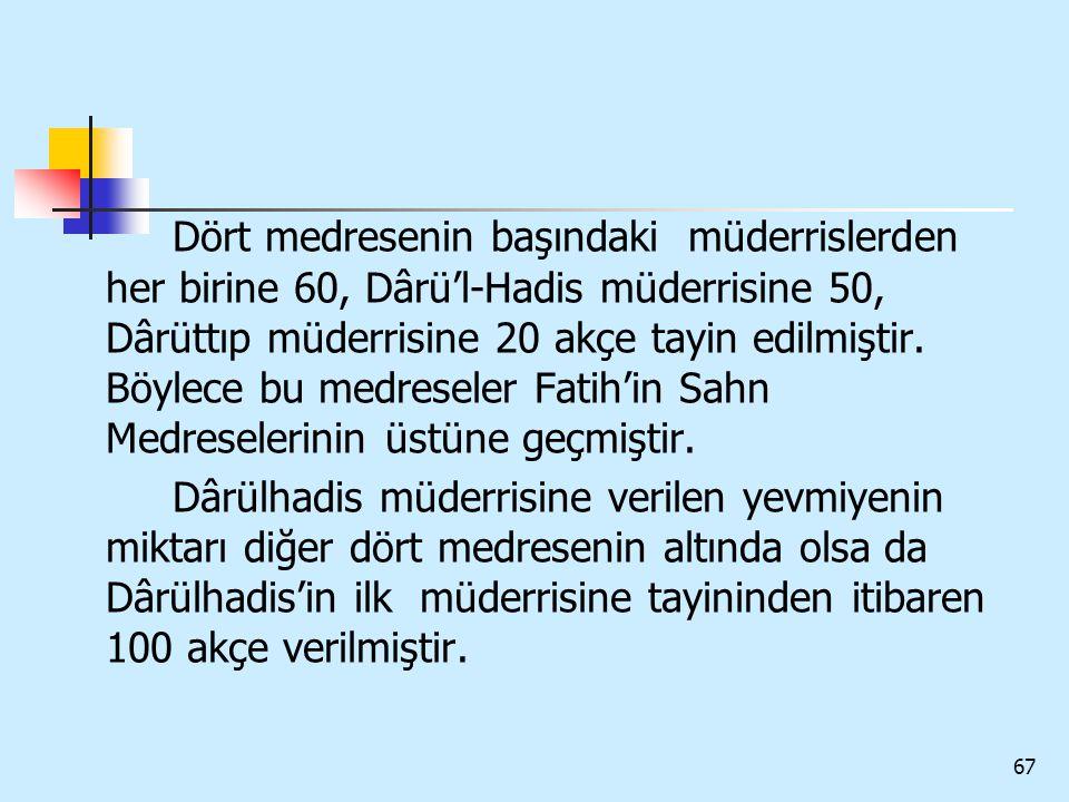 67 Dört medresenin başındaki müderrislerden her birine 60, Dârü'l-Hadis müderrisine 50, Dârüttıp müderrisine 20 akçe tayin edilmiştir. Böylece bu medr