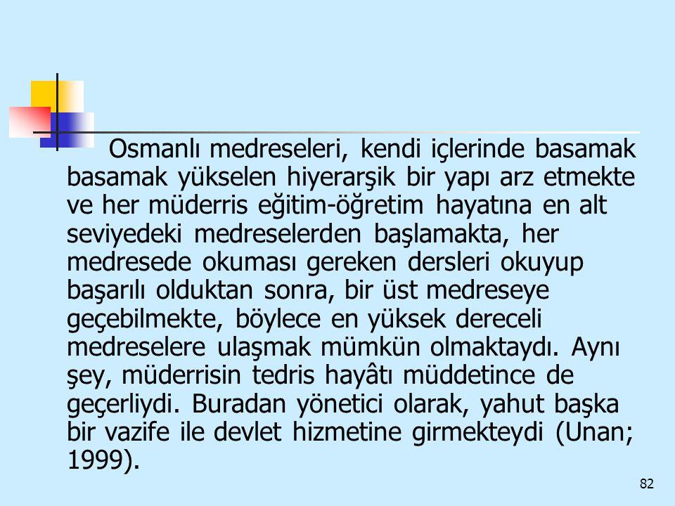 82 Osmanlı medreseleri, kendi içlerinde basamak basamak yükselen hiyerarşik bir yapı arz etmekte ve her müderris eğitim-öğretim hayatına en alt seviye