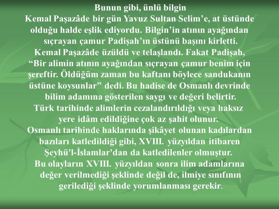 Bunun gibi, ünlü bilgin Kemal Paşazâde bir gün Yavuz Sultan Selim'e, at üstünde olduğu halde eşlik ediyordu.