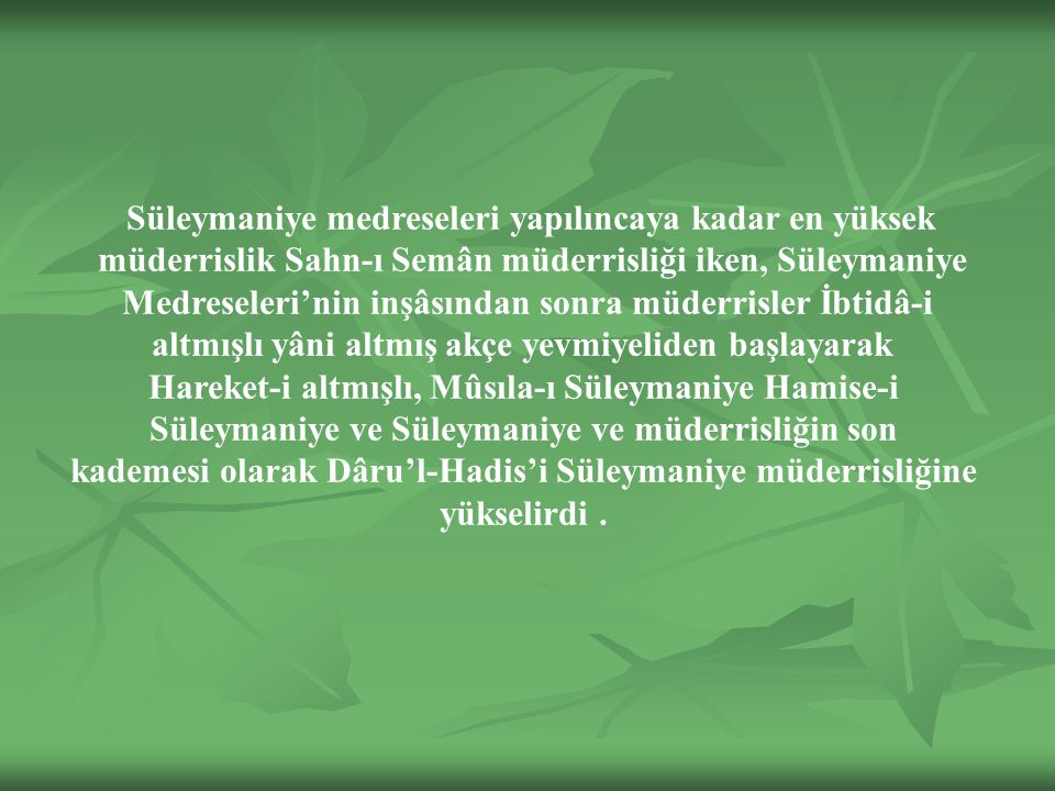 Süleymaniye medreseleri yapılıncaya kadar en yüksek müderrislik Sahn-ı Semân müderrisliği iken, Süleymaniye Medreseleri'nin inşâsından sonra müderrisler İbtidâ-i altmışlı yâni altmış akçe yevmiyeliden başlayarak Hareket-i altmışlı, Mûsıla-ı Süleymaniye Hamise-i Süleymaniye ve Süleymaniye ve müderrisliğin son kademesi olarak Dâru'l-Hadis'i Süleymaniye müderrisliğine yükselirdi.
