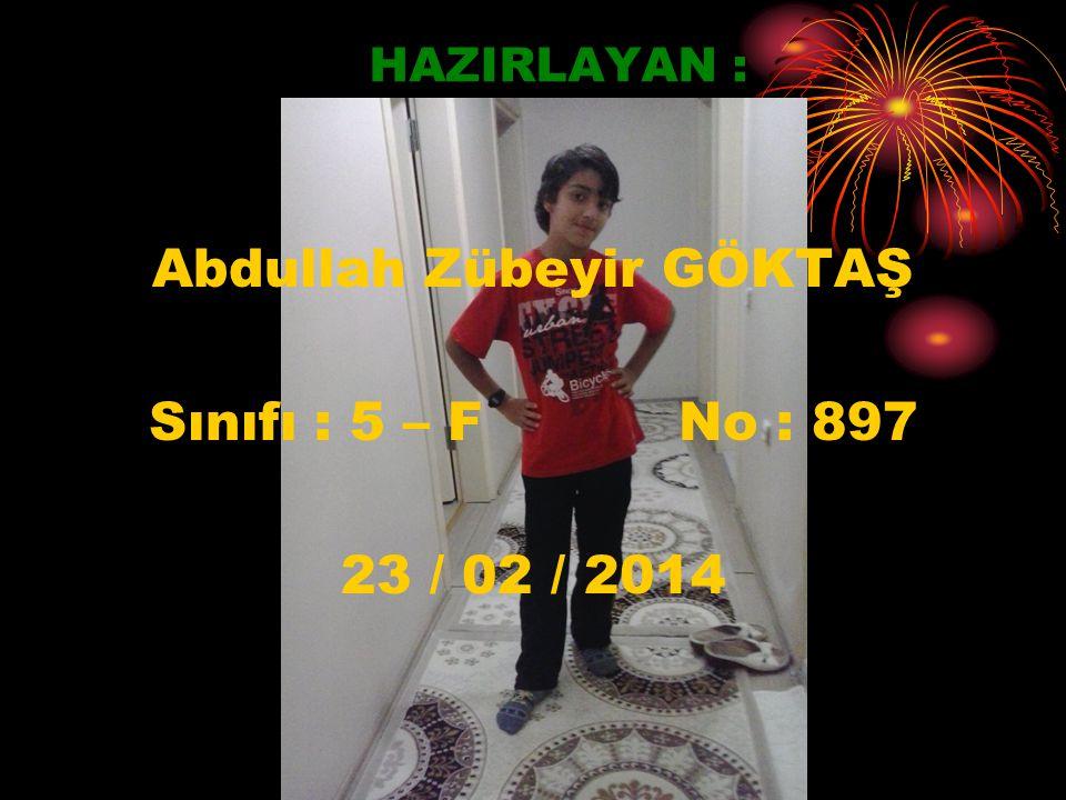 HAZIRLAYAN : Abdullah Zübeyir GÖKTAŞ Sınıfı : 5 – F No : 897 23 / 02 / 2014