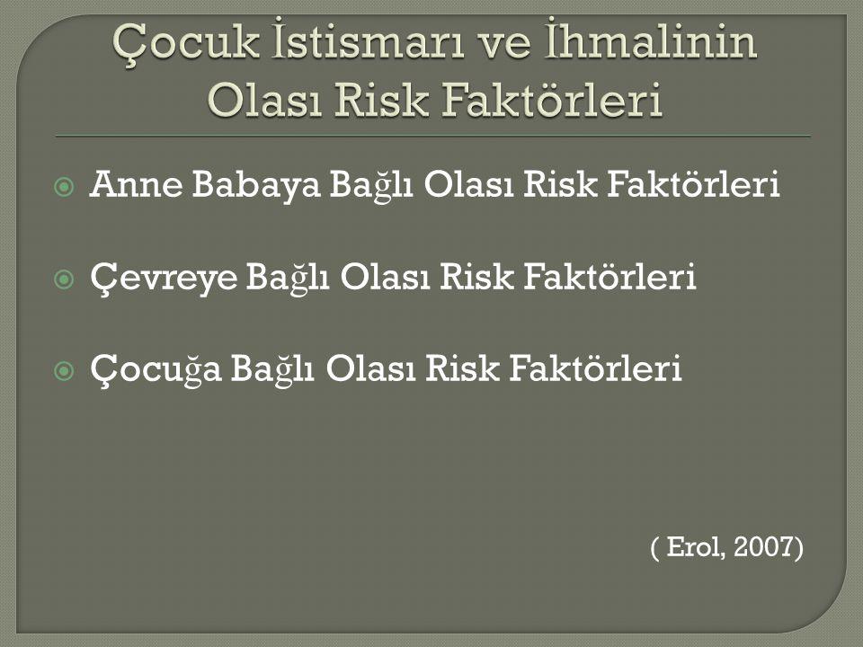  Anne Babaya Ba ğ lı Olası Risk Faktörleri  Çevreye Ba ğ lı Olası Risk Faktörleri  Çocu ğ a Ba ğ lı Olası Risk Faktörleri ( Erol, 2007)