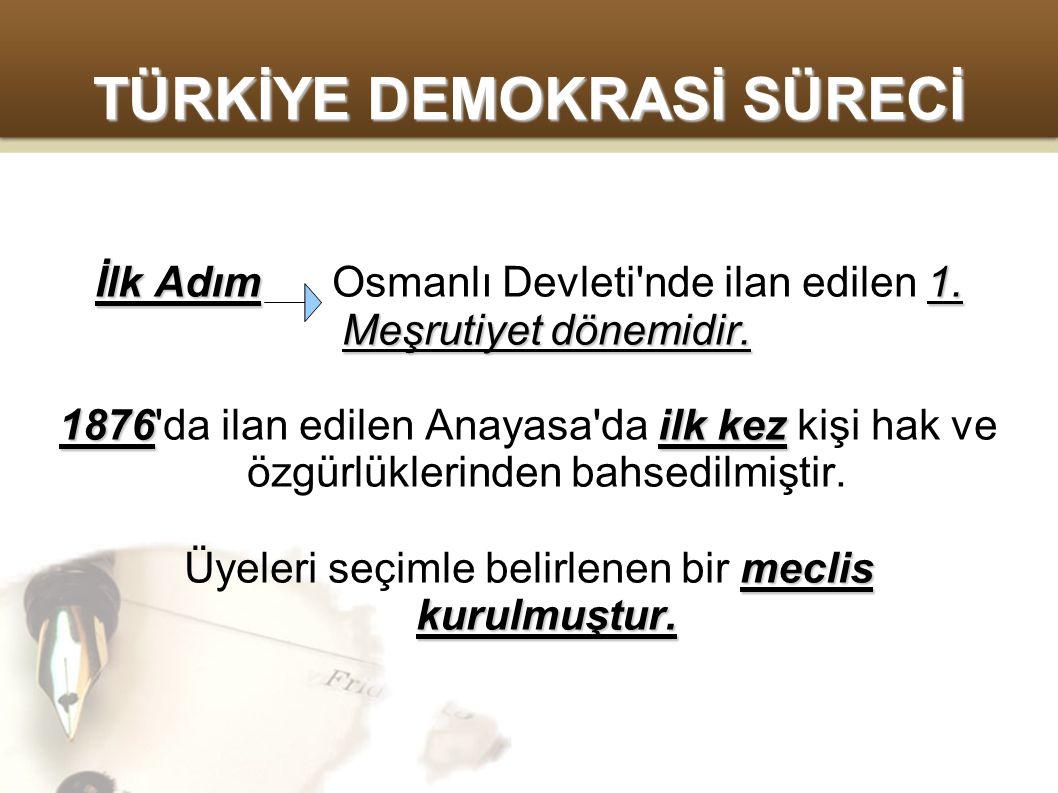 TÜRKİYE DEMOKRASİ SÜRECİ 1908 2.Meşrutiyet 1908 yılında ise 2.