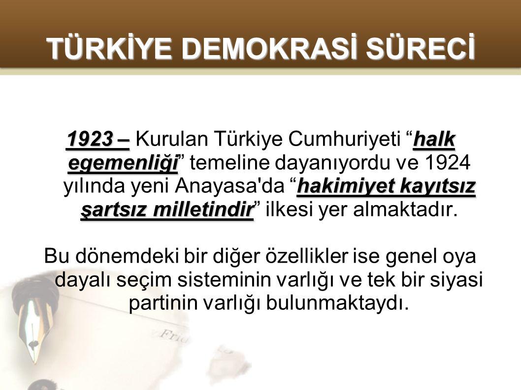 TÜRKİYE DEMOKRASİ SÜRECİ 1923 –halk egemenliği hakimiyet kayıtsız şartsız milletindir 1923 – Kurulan Türkiye Cumhuriyeti halk egemenliği temeline dayanıyordu ve 1924 yılında yeni Anayasa da hakimiyet kayıtsız şartsız milletindir ilkesi yer almaktadır.