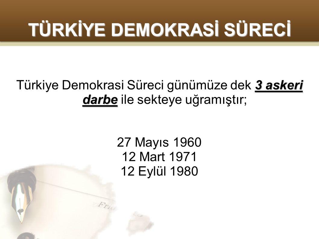 TÜRKİYE DEMOKRASİ SÜRECİ 3 askeri darbe Türkiye Demokrasi Süreci günümüze dek 3 askeri darbe ile sekteye uğramıştır; 27 Mayıs 1960 12 Mart 1971 12 Eylül 1980