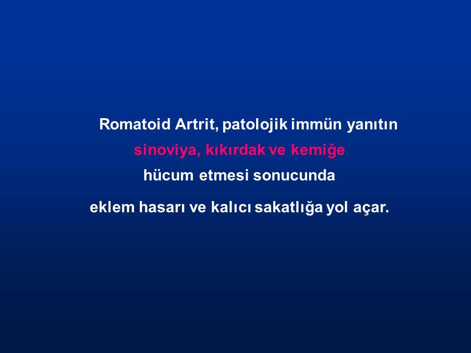 Romatoid Artrit, patolojik immün yanıtın sinoviya, kıkırdak ve kemiğe hücum etmesi sonucunda eklem hasarı ve kalıcı sakatlığa yol açar.