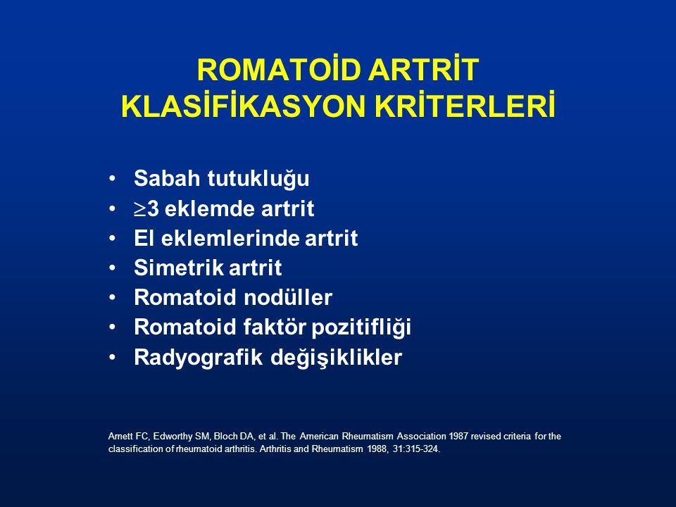 ROMATOİD ARTRİT KLASİFİKASYON KRİTERLERİ Sabah tutukluğu  3 eklemde artrit El eklemlerinde artrit Simetrik artrit Romatoid nodüller Romatoid faktörpo